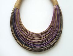 <3 Shades of Purple and Natural Statement Necklace by superlittlecute