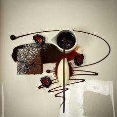 Chocolate blackcherry fudge cake, blackberry and blackcherry chocolate sauce and mascarpone cream