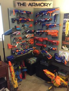 nerf gun wall storage gun wall storage storage best storage ideas on gun storage toy guns and big guns gun wall storage nerf gun wall storage ideas Nerf Gun Storage, Toy Rooms, Game Rooms, My New Room, Home Decor, Fathers, Perfect Man, Amazing Man, Amazing Ideas