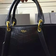 2016 A W Mulberry Maple Tote Bag Black Polished Embossed Croc Leather   HH3922- 53c69bd53a739