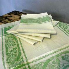 linen napkins and table cloth with shamrock embroidery. Irish Celtic, Irish Lace, Erin Go Bragh, Irish Eyes Are Smiling, Irish Cottage, Irish Roots, Irish Blessing, Emerald Isle, Luck Of The Irish