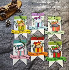 Christmas Kitty Tag Card by Zsofi at safsafdesign | Newton's Christmas Cuddles stamp set by Newton's Nook Designs #newtonsnook