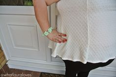 Gemma Collins Boutique Mint Green White Peplum Top Plus Size Outfit Post