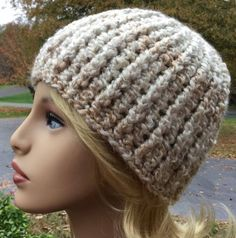 Bulky crochet hat, handmade beanie made with homespun yarn in color pearls Mens Crochet Beanie, Hat Crochet, Crochet Winter Hats, Chunky Crochet, Hats For Women, Crochet Projects, Crochet Patterns, Gifts For Her, Knitting