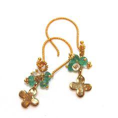 Four Leaf Clover Earrings Emerald Earrings Topaz by FizzCandy