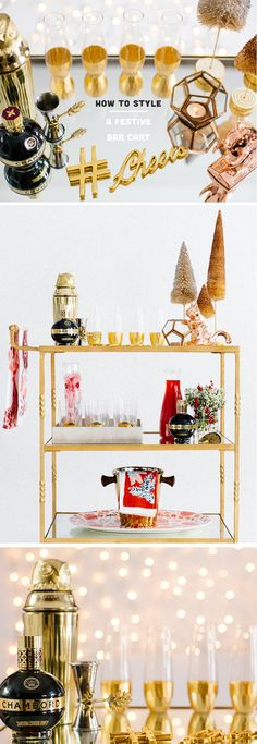 How to style a festive bar cart in 11 quick steps! In   partnership with @ChambordUS and @refinery29  #BecauseNoReason #adOver21