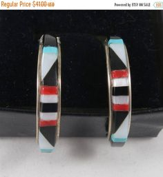 MoThErs dAy SaLe Zuni Style Sterling Silver Mixed Stone Inlay Hoop Earrings- as it is by Framarines on Etsy