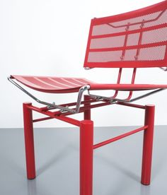 Hans Ullrich Bitsch. Two pairs of red Hans Ullrich Bitsch chairs Series 8600, circa 1980. Postmodern classic with perforated backrest and seat and highly delicate metal joints. Very good original condition with some minor color losses. We sell them as sets of 2. Total availability is 4.
