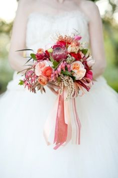 Peach and red bouquet | Floral design by http://www.hollychappleflowers.com/ | Photography by http://cynkainphotography.com/ | Event design and styling by http://www.bellwetherevents.com/