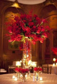 red reception wedding flowers, wedding decor, wedding flower centerpiece, wedding flower arrangement, add pic source on comment and we will update it.myfloweraffai… can create this beautiful wedding flower look. Floral Centerpieces, Table Centerpieces, Floral Arrangements, Centerpiece Ideas, Red Wedding Flower Arrangements, Wedding Flower Centerpieces, Chocolate Centerpieces, Wedding Bouquets, Blush Centerpiece