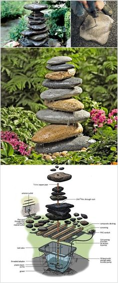 DIY river rocks fountain http://www.amazinginteriordesign.com/10-waterfall-fountain-ideas-to-adorn-your-garden/