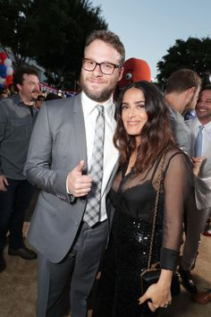 Seth Rogen & Salma Hayek from Movie Premieres: Red Carpets and Parties!  The two reunite on at the L.A. premiere of their raunchy animated flick Sausage Party.