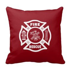 Firefighter Fire Rescue Pillow in Firefighter Red or Black