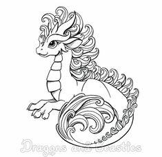 Inktober: Curly by DragonsAndBeasties on DeviantArt Dragon 2, Baby Dragon, Easy Dragon Drawings, Cartoon Dragon, Dragon Coloring Page, Dragon Artwork, Dragon Pictures, Cute Dragons, Coloring Book Pages