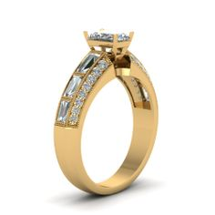 Radiant Cut Diamond Engagement Rings With White Diamond In 18K Yellow Gold | Milgrain Draped Ring | Fascinating Diamonds