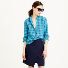 NWT J Crew gingham popover in Caribbean Blue Brand new with tags.  Caribbean Blue gingham popover. Cotton. J. Crew Tops Button Down Shirts