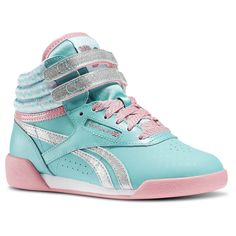 b7f3f0dea40e3 Reebok Disney Frozen Freestyle Hi Aqua Faze Crystal Blue Silver  Metallic Pixie Pink Girls Classics S