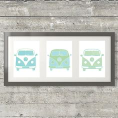 Volkswagen VW Bus Poster Set of 3 8x10 by PrintsAndPrintables, $14.00