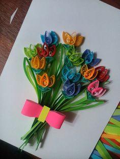 Мастер-класс по изготовлению поздравительной открытки в технике квиллинга «Тюльпаны» Фото