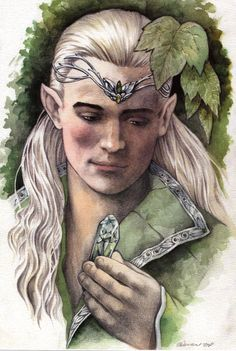 """colleendoran: """"Gimli's Gift. This was created as a free print for an officially licensed Lord of the Rings convention event. The original is in watercolor. I wanted to capture a moment referred to in the books. Legolas could not imagine the dwarves..."""