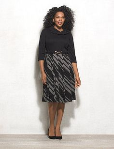 Plus Size Striped Belted Sweater Dress