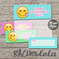 emoji valentines day card for kids printable favor bag topper or goodie bag label - Valentine Bags For School