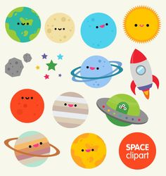 Space clipart commercial use, digital planet graphics-  cartoon kawaii planets asteroid moon spaceship digital clip art vectors download