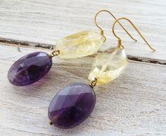 Orecchini citrino giallo e ametista viola, pendenti argento 925 dorato, bijoux