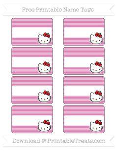 Free Pastel Fuchsia Horizontal Striped  Hello Kitty Name Tags