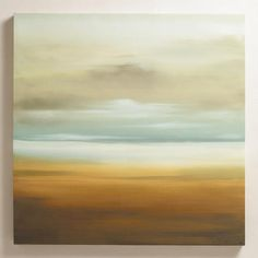 This painting would add energy to the room and matches the color palate.  WorldMarket.com: 'Scape' by K.C. Haxton