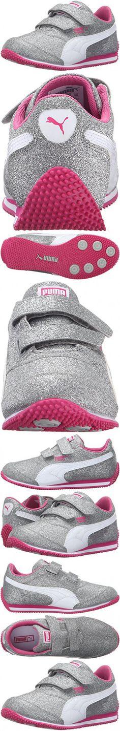 PUMA Steeple Glitz Glam V Kids Sneaker (Toddler/ Little Kid/Big Kid), Puma Silver/Puma White/Fuchsia Purple, 3.5 M US Big Kid