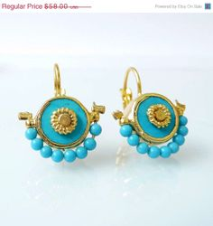 Valentines Day Sale Turquoise Earrings Turquoise by inbalmishan, $49.30