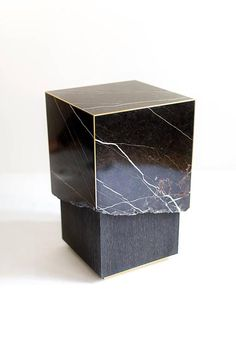Meta End Table in Black Marble, Dyed Solid White Oak with Brass Details 3