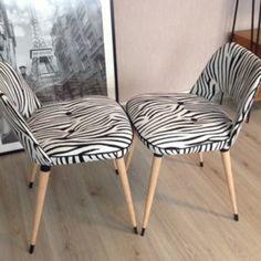Duo de chaises cocktail, noir/blanc, tissu zebre,
