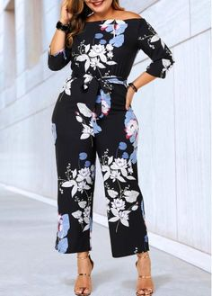 Rosewe Women Jumpsuit Plus Size Black Floral Off The Shoulder Wide Leg Plus Size Belted Three Quarter Sleeve Jumpsuit Plus Size Jumpsuit, Jumpsuit With Sleeves, Shredded Jeans, Plus Size Belts, Casual Jumpsuit, Printed Jumpsuit, Stunning Dresses, One Piece Swimwear, Dresses For Sale