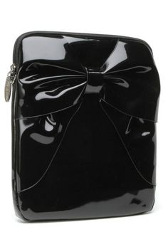 Black Shiny Lady Lux Bow Ipad Case by Lux DeVille | Bags
