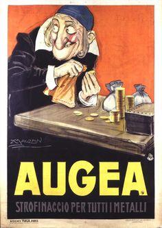 Strofinaccio per tutti i metalli Artist: Achille Luciano Mauzan Vintage Italian Posters, Vintage Travel Posters, Poster Vintage, Retro Advertising, Vintage Advertisements, Retro Ads, Vintage Labels, Vintage Ads, 1950s Posters