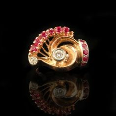 14k yellow gold and palladium, ruby and diamond ring. $1,375. Haig's of Rochester Fine Jewelry & Objects of Art, Rochester, MI. #Gatsby