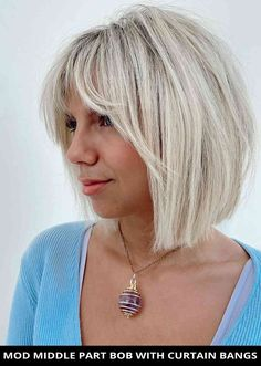 Style your hair into this lovely mod middle part bob with curtain bangs that's on-trend right now! See all of the details for this look by tapping Visit and you'll also see the remaining 46 most flattering bob haircuts with bangs. // Photo Credit: @hairbykaitlynbrown on Instagram Short Layered Bob Haircuts, Asymmetrical Bob Haircuts, Edgy Haircuts, Layered Bobs, Short Bobs, Blonde Bob With Bangs, Bob Haircut With Bangs, Ash Blonde Hair, Short Box Braids Hairstyles