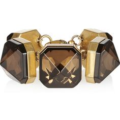 Gucci Gold-plated crystal bracelet ($1,050) ❤ liked on Polyvore