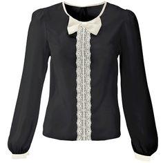 Bluse mit Schleife - Romantische schwarze Bluse von RAINBOW. Die Bluse hat eine niedliche Schleife am Ausschnitt. - ab 22,99€