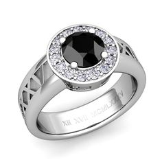 Custom Roman Numeral Halo Engagement Ring with Diamond and Gemstone