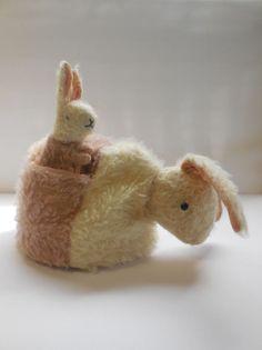 Antique Vintage Long Pink Mohair Rabbit Bunny Tea Cosy Cozy with Baby Mitt