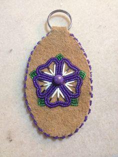 Moose Leather Key Chain by AlaskaBeadwork on Etsy Native Beading Patterns, Native Beadwork, Native American Beadwork, Nativity Crafts, Leather Art, Beading Projects, Leather Keychain, Hair Ornaments, Baby Knitting Patterns