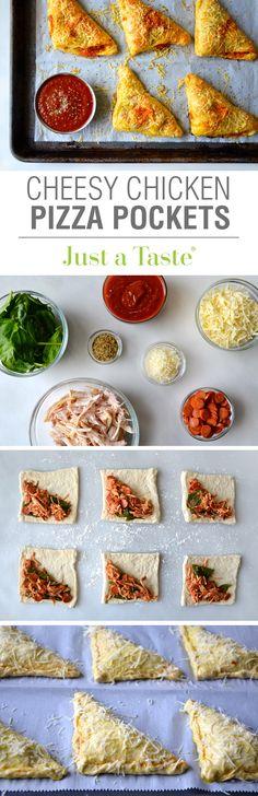 Cheesy Chicken Pizza Pockets recipe via justataste.com | A quick, easy and delicious dinner option!