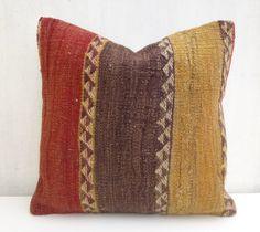 Kilim pillow Decorative Throw Pillow Ethnic n Large stripes 40x40 Flat woven Wool Cushion 16x16' Natural Vintage Turkish Cushion Home Decor