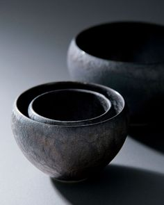 炭彩 : tansai, set of bowls by maebata, japan