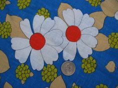 Vintage 1970s Flower Power Big Daisy Dots Fabric 1YARD by tessimal, $10.00