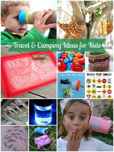 Travel & Camping Ideas for Kids- i like the chalkboard and the t shirt bracelets. I've made the bird feeders- they don't work very well