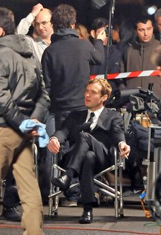 Jude Law films a commercial for Dior Homme in Paris (with Guy Ritchie)